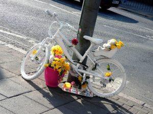 A ghost bike on Kings Heath High St in memory of Hope