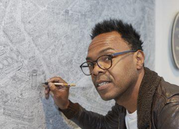 Large-scale sketch of Birmingham on display at Birmingham Museum