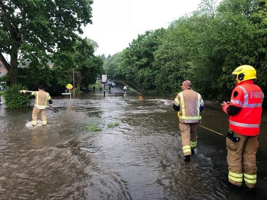 Flood water on Hollywood Lane in May 2018
